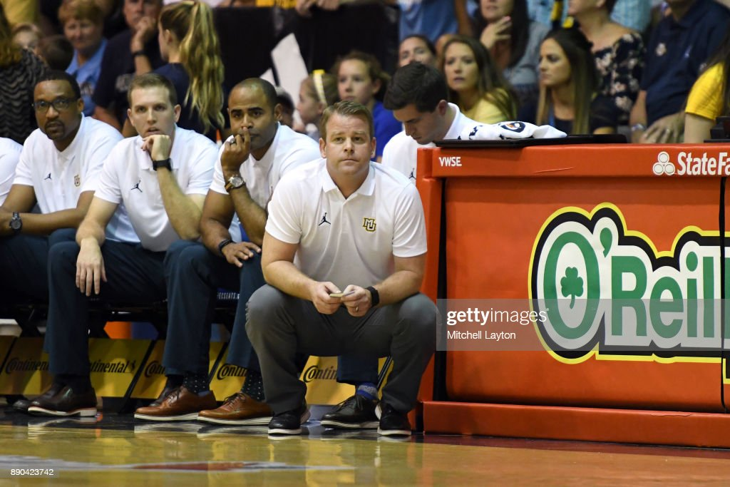 Head coach Steve Wojciechowski of the Marquette Golden Eagles looks on during a consultation college basketball game at the Maui Invitational against the LSU Tigers at the Lahaina Civic Center on November 22, 2017 in Lahaina, Hawaii. The Golden Eagles won 94-84.
