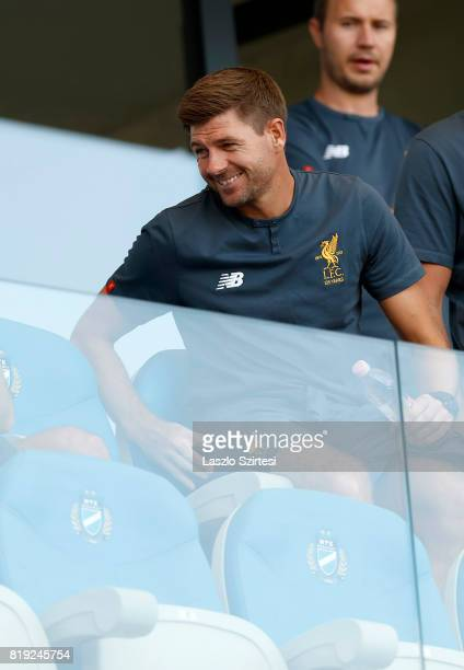 Head coach Steven Gerrard of FC Liverpool U18 waits for the kickoff prior to the Preseason Friendly match between MTK Budapest II and FC Liverpool...
