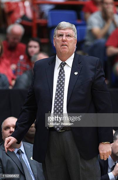 Head coach Stew Morrill of the Utah State Aggies coaches against the Kansas State Wildcats during the second round of the 2011 NCAA men's basketball...