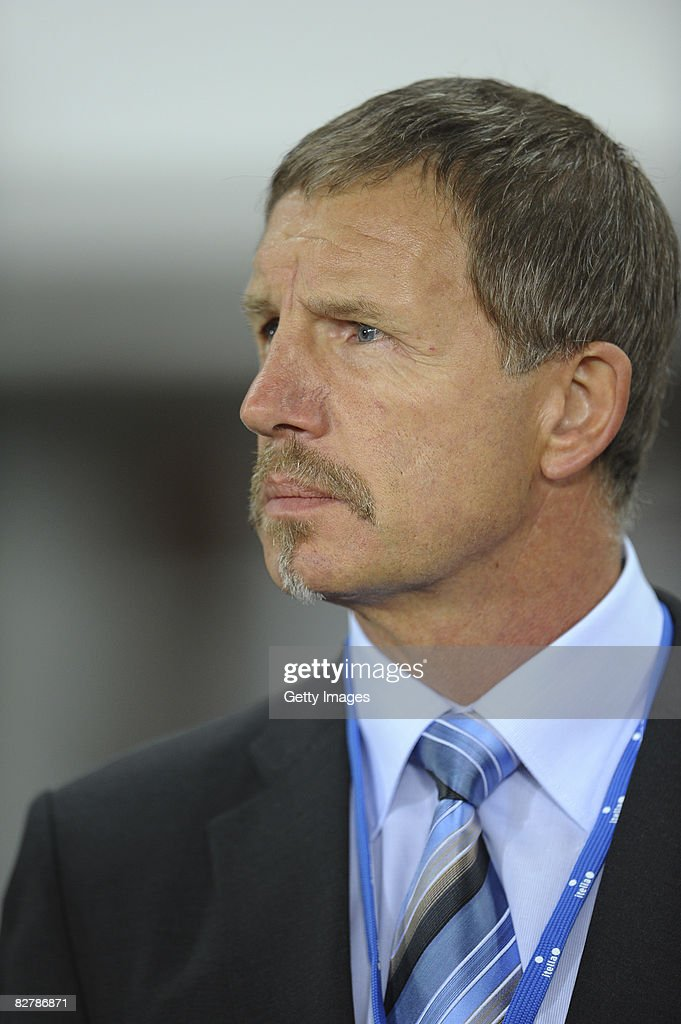 Head Coach Stuart Baxter of Finland during the FIFA 2010 World Cup Qualifier match between Finland and Germany at the Olympic stadium on September 10...
