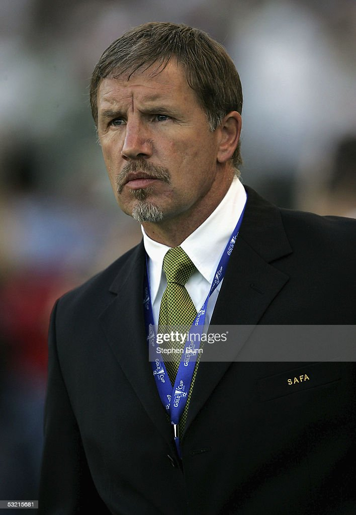 Head coach Stuart Baxter of South Africa looks on before the game with Mexico on July 8 2005 during the CONCACAF Gold Cup at the Home Depot Center in...