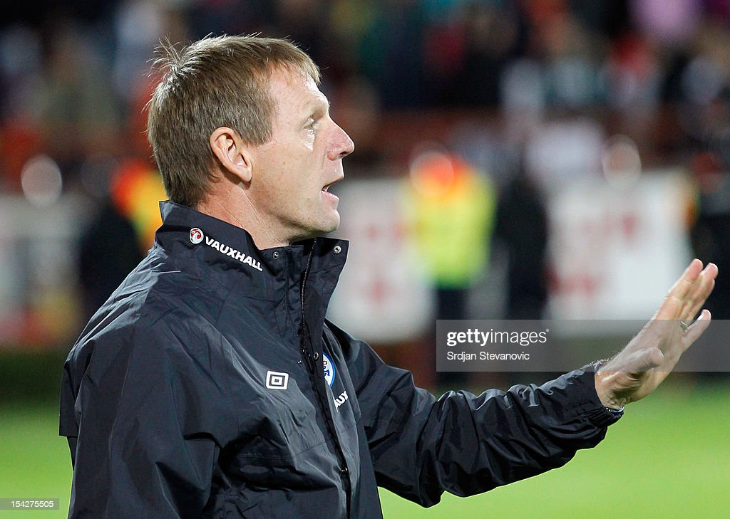 Head Coach Stuart Pearce of England during the Under 21 European Championship Play Off second leg match between Serbia U21 and England U21 at Stadium Mladost on October 16, 2012 in Krusevac, Serbia.