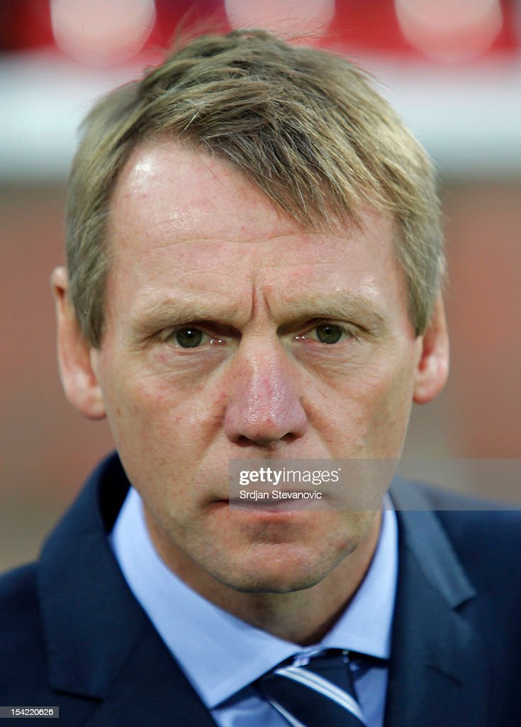Head coach Stuart Pearce of England looks on prior to the Under 21 European Championship Play Off second leg match between Serbia U21 and England U21 at Stadium Mladost on October 16, 2012 in Krusevac, Serbia.