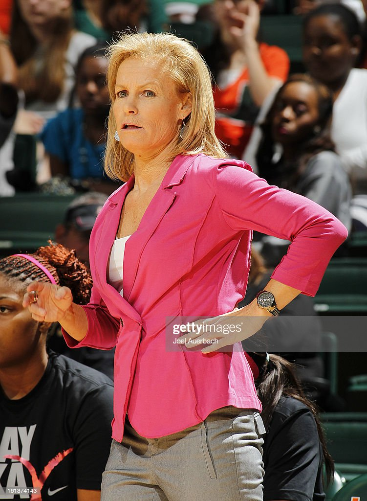 Head Coach Sue Semrau of the Florida State Seminoles looks on during first half action against the Miami Hurricanes on February 10, 2013 at the BankUnited Center in Coral Gables, Florida.
