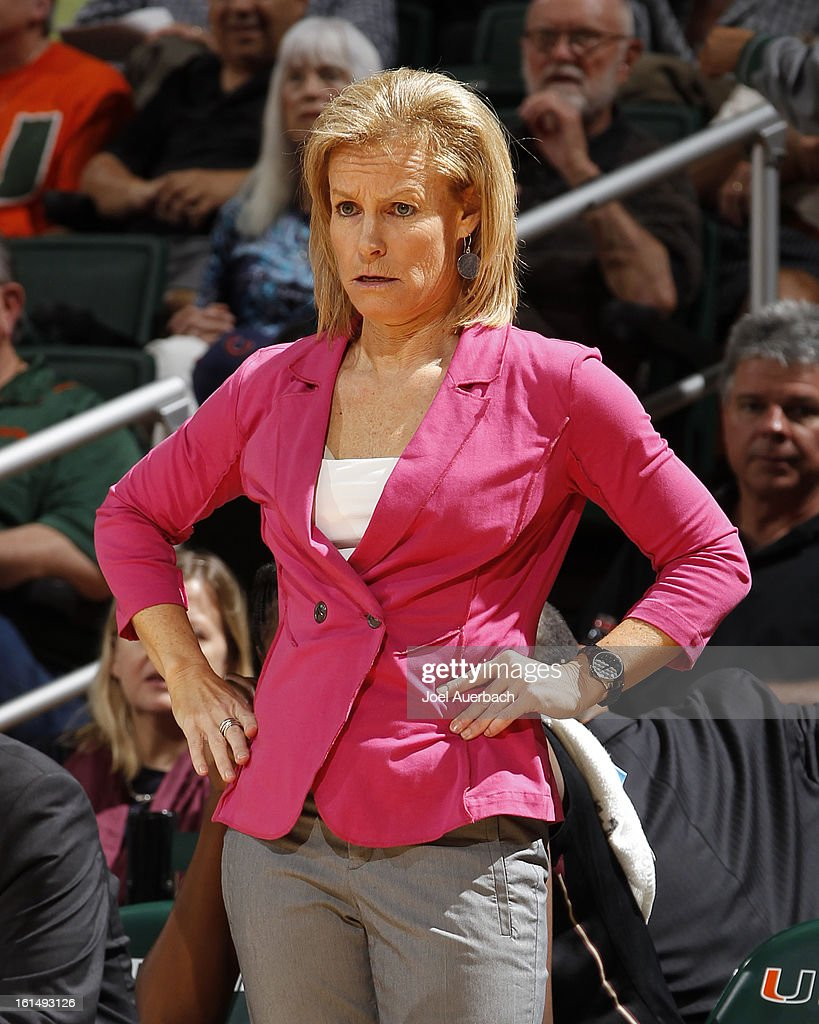 Head Coach Sue Semrau of the Florida State Seminoles looks on during first half action against the Miami Hurricanes on February 10, 2013 at the BankUnited Center in Coral Gables, Florida. The Seminoles defeated the Hurricanes 93-78.