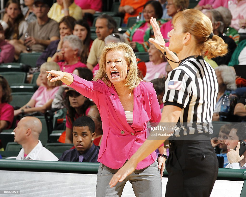 Head Coach Sue Semrau of the Florida State Seminoles yells at a game official after she believed one of her girls was fouled by the Miami Hurricanes on February 10, 2013 at the BankUnited Center in Coral Gables, Florida. The Seminoles defeated the Hurricanes 93-78.