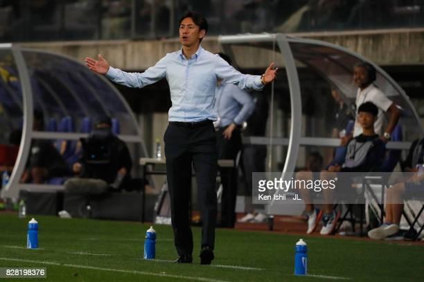 Head coach Susumu Watanabe of Vegalta Sendai gestuduring the JLeague J1 match between Vegalta Sendai and Jubilo Iwata at Yurtec Stadium Sendai on...