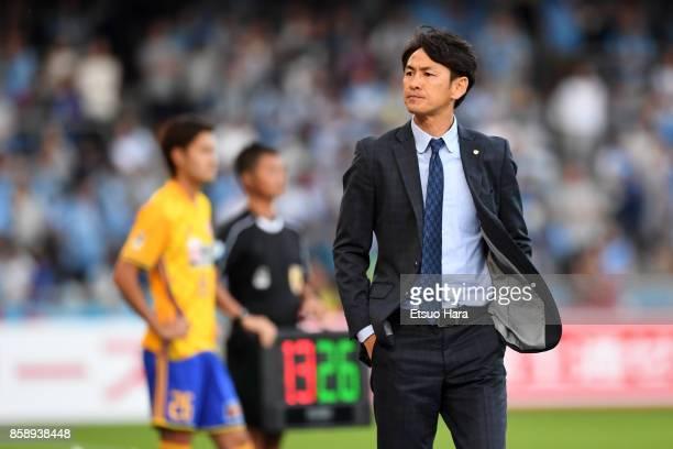Head coach Susumu Watanabe of Vegalta Sendai looks on during the JLeague Levain Cup semi final second leg match between Kawasaki Frontale and Vegalta...