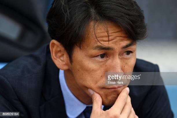 Head coach Susumu Watanabe of Vegalta Sendai looks on prior to the JLeague Levain Cup semi final second leg match between Kawasaki Frontale and...