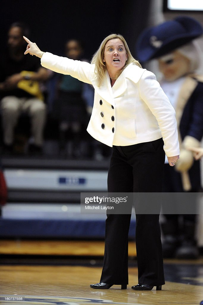 Head coach Suzie McConnell-Serio of Duquesne Dukes reacts to a call during a college basketball game against the George Washington Colonials on January 30, 2013 at the Smith Center in Washington, DC. The Dukes won 63-59 in double overtime.