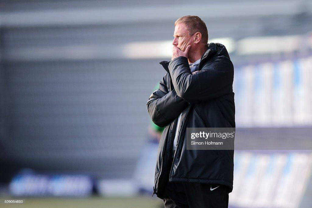 Head coach Sven Demandt of Wiesbaden reacts during the Third League match between Wehen Wiesbaden and Preussen Muenster at BRITA-Arena on April 29, 2016 in Wiesbaden, Hesse.