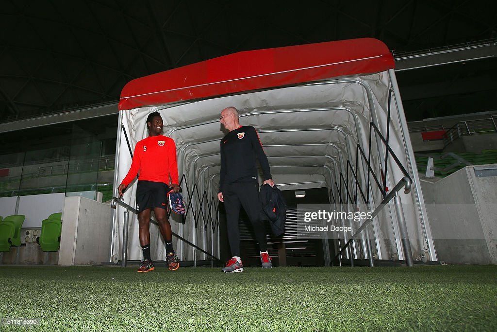 Head coach Sven Goran Eriksson and <a gi-track='captionPersonalityLinkClicked' href=/galleries/search?phrase=Asamoah+Gyan&family=editorial&specificpeople=535782 ng-click='$event.stopPropagation()'>Asamoah Gyan</a> walk out for the Shanghai SIPG training session at AAMI Park on February 23, 2016 in Melbourne, Australia.