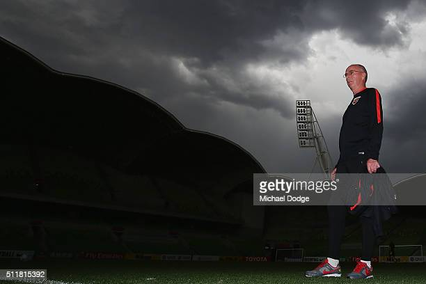 Head coach Sven Goran Eriksson inspects the surface during the Shanghai SIPG training session at AAMI Park on February 23 2016 in Melbourne Australia