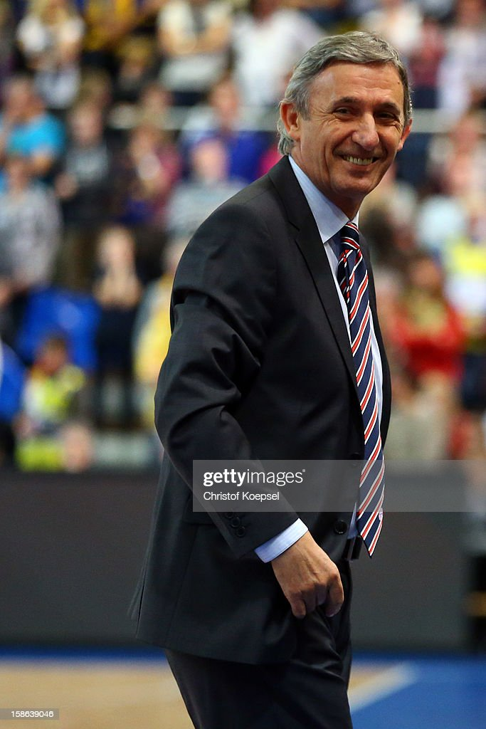 Head coach Svetislav Pesic of Bayern Muenchen smiles during the Beko BBL Bundesliga match between Phoenix Hagen and FC Bayern Muenchen at ENERVIE Arena on December 22, 2011 in Hagen, Germany.