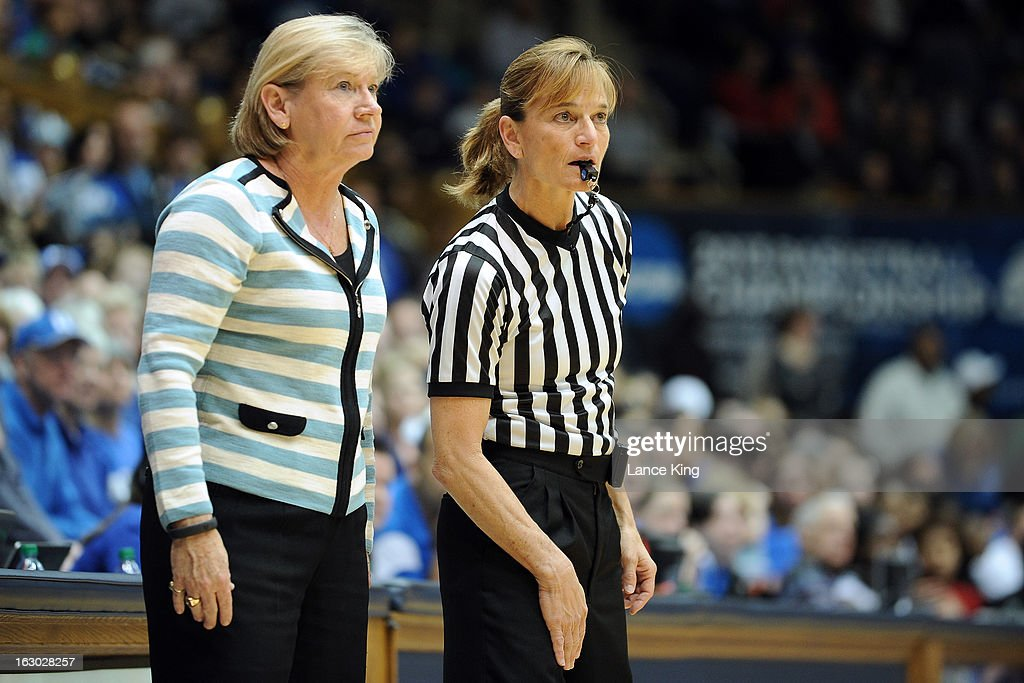 Head Coach Sylvia Hatchell of the North Carolina Tar Heels and referee Dee Kantner look on during a game against the Duke Blue Devils at Cameron Indoor Stadium on March 3, 2013 in Durham, North Carolina.