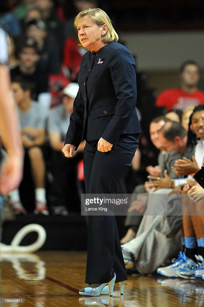 Head Coach Sylvia Hatchell of the North Carolina Tar Heels looks on from the sideline against the North Carolina State Wolfpack at Reynolds Coliseum on January 10, 2013 in Raleigh, North Carolina. North Carolina defeated NC State 70-66.