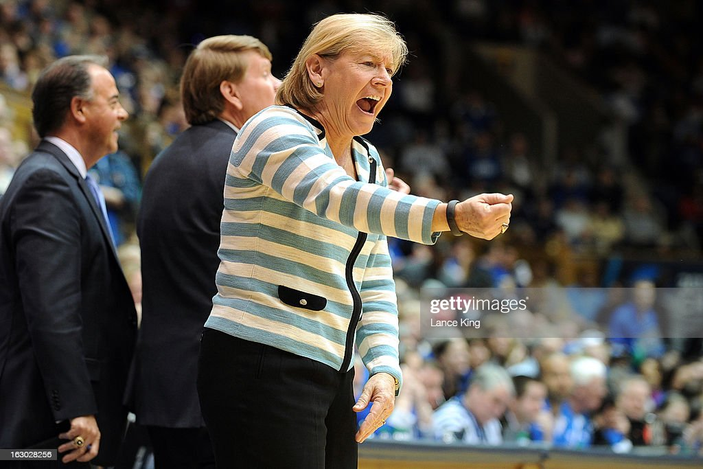 Head Coach Sylvia Hatchell of the North Carolina Tar Heels reacts to a play against the Duke Blue Devils at Cameron Indoor Stadium on March 3, 2013 in Durham, North Carolina. Duke defeated North Carolina 65-58.