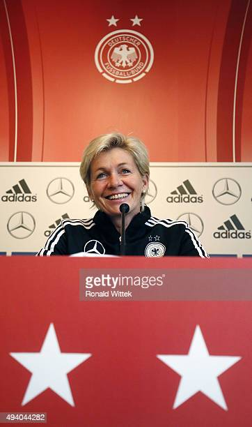 Head coach Sylvia Neid of Germany Women's National team during a press conference at Hardtwald stadion on October 24 2015 in Sandhausen Germany