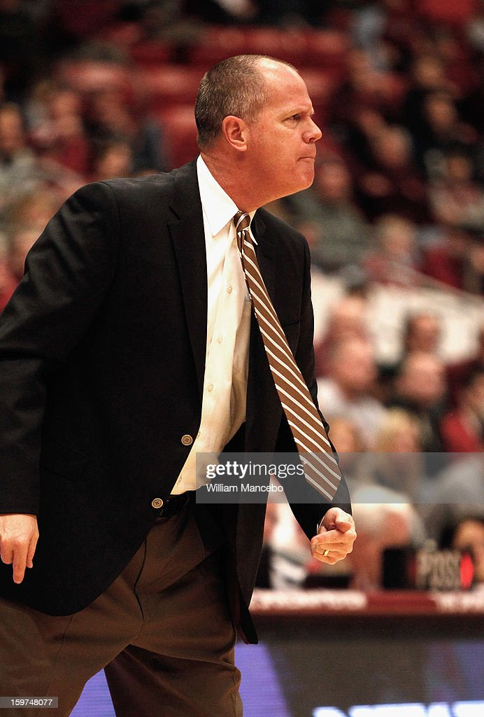 Head coach Tad Boyle of the Colorado Buffaloes gives direction to his team from the sideline during the second half of the game against the Washington State Cougars at Beasley Coliseum on January 19, 2013 in Pullman, Washington.