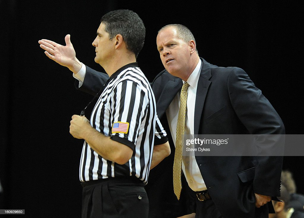 Head coach <a gi-track='captionPersonalityLinkClicked' href=/galleries/search?phrase=Tad+Boyle&family=editorial&specificpeople=7279933 ng-click='$event.stopPropagation()'>Tad Boyle</a> of the Colorado Buffaloes has some words an official in the first half of the game against the Colorado Buffaloes at Matthew Knight Arena on February 7, 2013 in Eugene, Oregon. Colorado won the game 48-47.