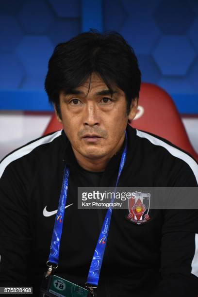 Head coach Takafumi Hori of Urawa Red Diamonds looks on prior to the AFC Champions League Final 2017 first leg between AlHilal and Urawa Red Diamonds...