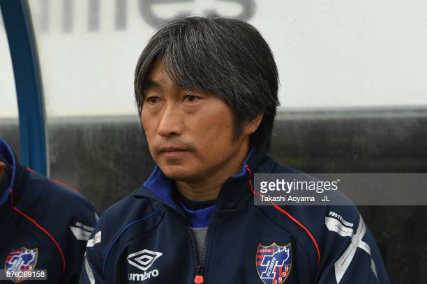Head coach Takayoshi Amma of FC Tokyo looks on prior to the JLeague J1 match between Sagan Tosu and FC Tokyo at Best Amenity Stadium on November 18...