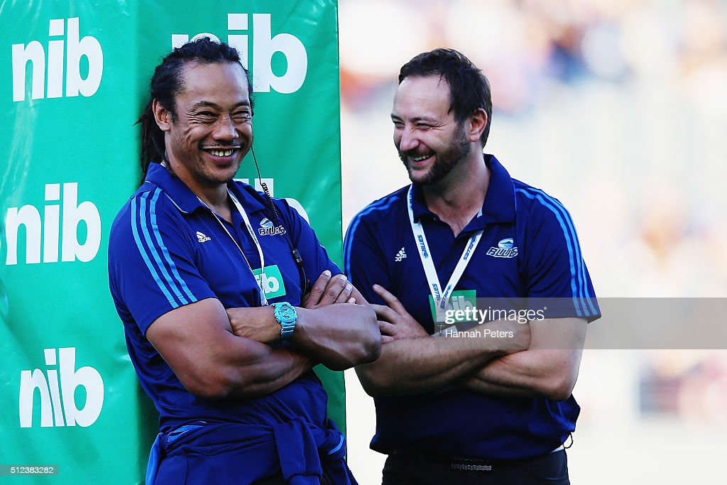 Head coach <a gi-track='captionPersonalityLinkClicked' href=/galleries/search?phrase=Tana+Umaga&family=editorial&specificpeople=203218 ng-click='$event.stopPropagation()'>Tana Umaga</a> with assistant coach Alistair Rogers of the Blues prior to the round one Super Rugby match between the Blues and the Highlanders at Eden Park on February 26, 2016 in Auckland, New Zealand.
