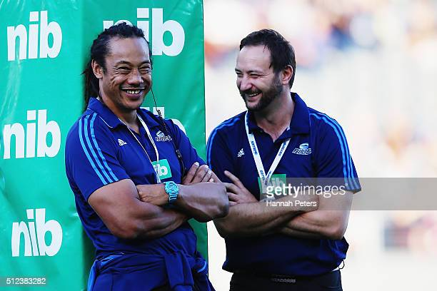 Head coach Tana Umaga with assistant coach Alistair Rogers of the Blues prior to the round one Super Rugby match between the Blues and the...