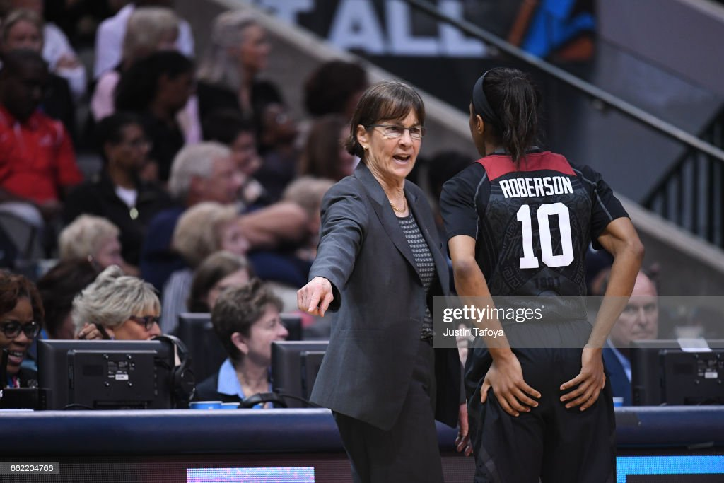 Head coach Tara VanDerveer coaches Briana Roberson #10 of the Stanford Cardinal during the 2017 Women's Final Four at American Airlines Center on March 31, 2017 in Dallas, Texas.