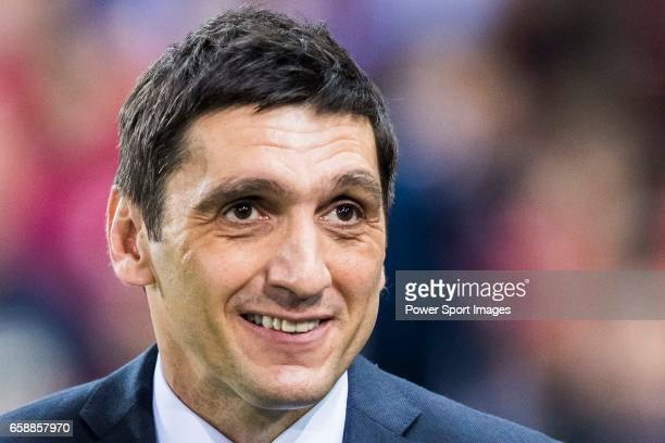 Head coach Tayfun Korkut of Bayer 04 Leverkusen prior to the 201617 UEFA Champions League Round of 16 second leg match between Atletico de Madrid and...
