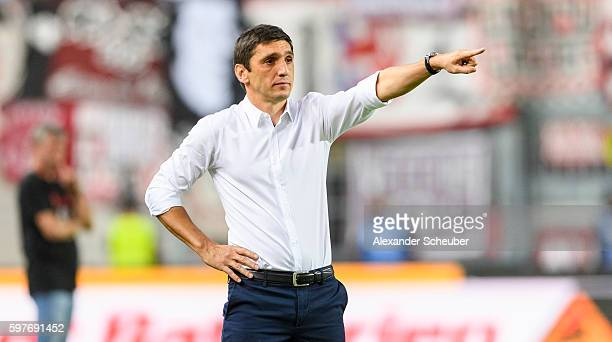 Head coach Tayfun Korkut of FC Kaiserslautern reacts during the Second Bundesliga match between 1 FC Kaiserslautern and Fortuna Duesseldorf at...
