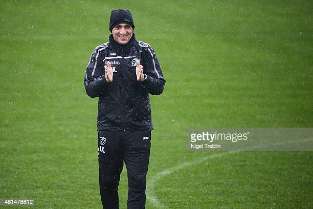 Head coach Tayfun Korkut of Hannover gestures during the Hannover 96 training camp on January 13 2015 in Belek Turkey