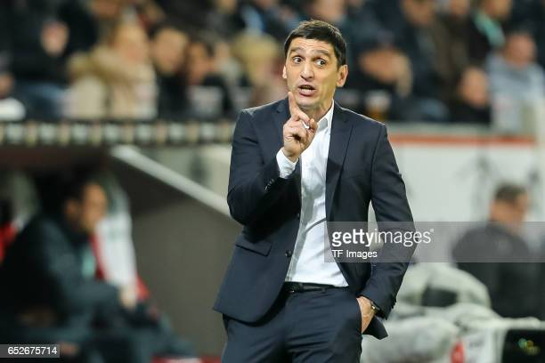 Head coach Tayfun Korkut of Leverkusen gestures during the Bundesliga soccer match between Bayer Leverkusen and Werder Bremen at the BayArena stadium...