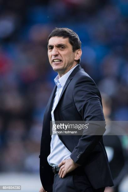Head coach Tayfun Korkut of Leverkusen gestures reacts the Bundesliga match between TSG 1899 Hoffenheim and Bayer 04 Leverkusen at Wirsol...