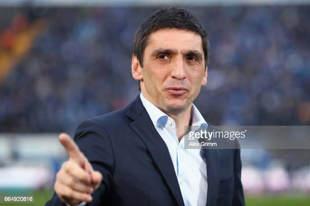 Head coach Tayfun Korkut of Leverkusen looks on prior to the Bundesliga match between SV Darmstadt 98 and Bayer 04 Leverkusen at Jonathan Heimes...