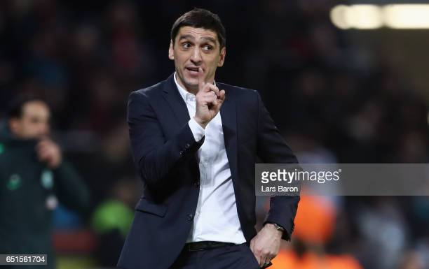 Head coach Tayfun Korkut of Leverkusen reacts during the Bundesliga match between Bayer 04 Leverkusen and Werder Bremen at BayArena on March 10 2017...