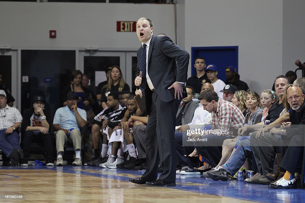 Head Coach Taylor Jenkins of the Austin Toros gives direction to his players against the Santa Cruz Warriors in an NBA Development League Playoff Game on April 19, 2013 at Kaiser Permanente Arena in Santa Cruz, California.