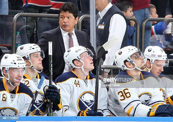 Head coach Ted Nolan of the Buffalo Sabres follows the action from the bench during the game against the New York Rangers at Madison Square Garden on...