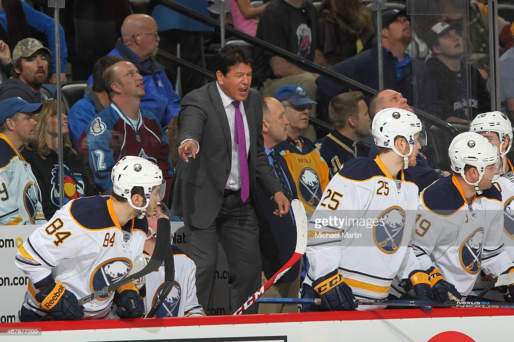 Head coach Ted Nolan of the Buffalo Sabres leads his team against the Colorado Avalanche at the Pepsi Center on March 28 2015 in Denver Colorado The...