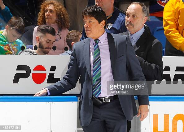Head coach Ted Nolan of the Buffalo Sabres looks on against the New York Islanders on April 4 2015 at Nassau Veterans Memorial Coliseum in Uniondale...