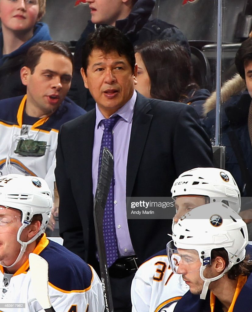 Head coach Ted Nolan of the Buffalo Sabres looks on during the game against the New Jersey Devils at the Prudential Center on February 17 2015 in...