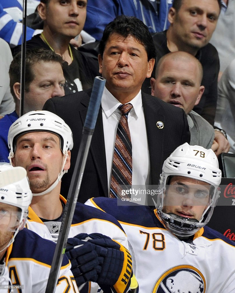 Head Coach Ted Nolan of the Buffalo Sabres looks on from the bench during NHL game action against the Toronto Maple Leafs November 16, 2013 at the Air Canada Centre in Toronto, Ontario, Canada.