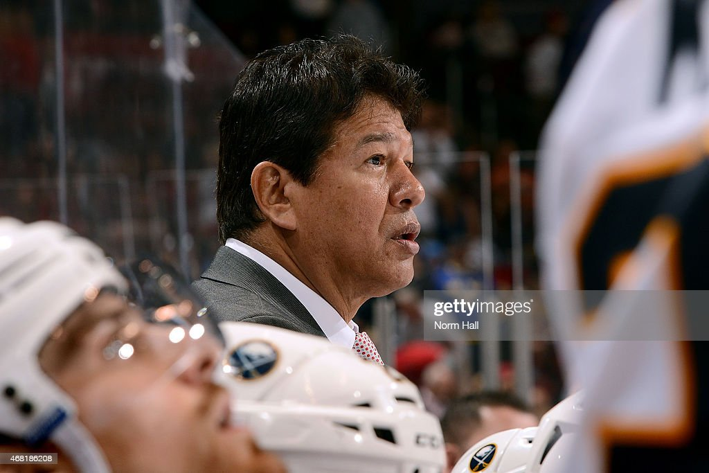 Head coach Ted Nolan of the Buffalo Sabres looks on from the bench during the third period against the Arizona Coyotes at Gila River Arena on March...