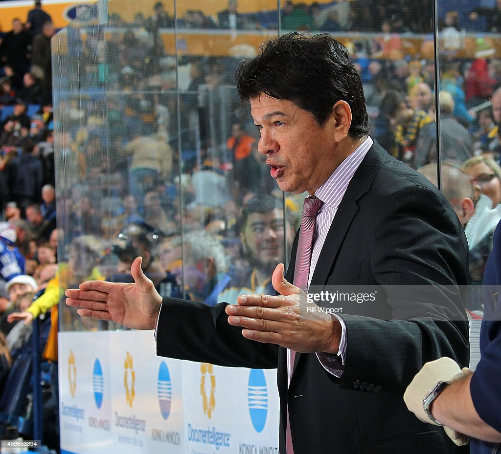 Head coach Ted Nolan of the Buffalo Sabres questions a delay of game penalty in the second period of their game against the Tampa Bay Lightning on...