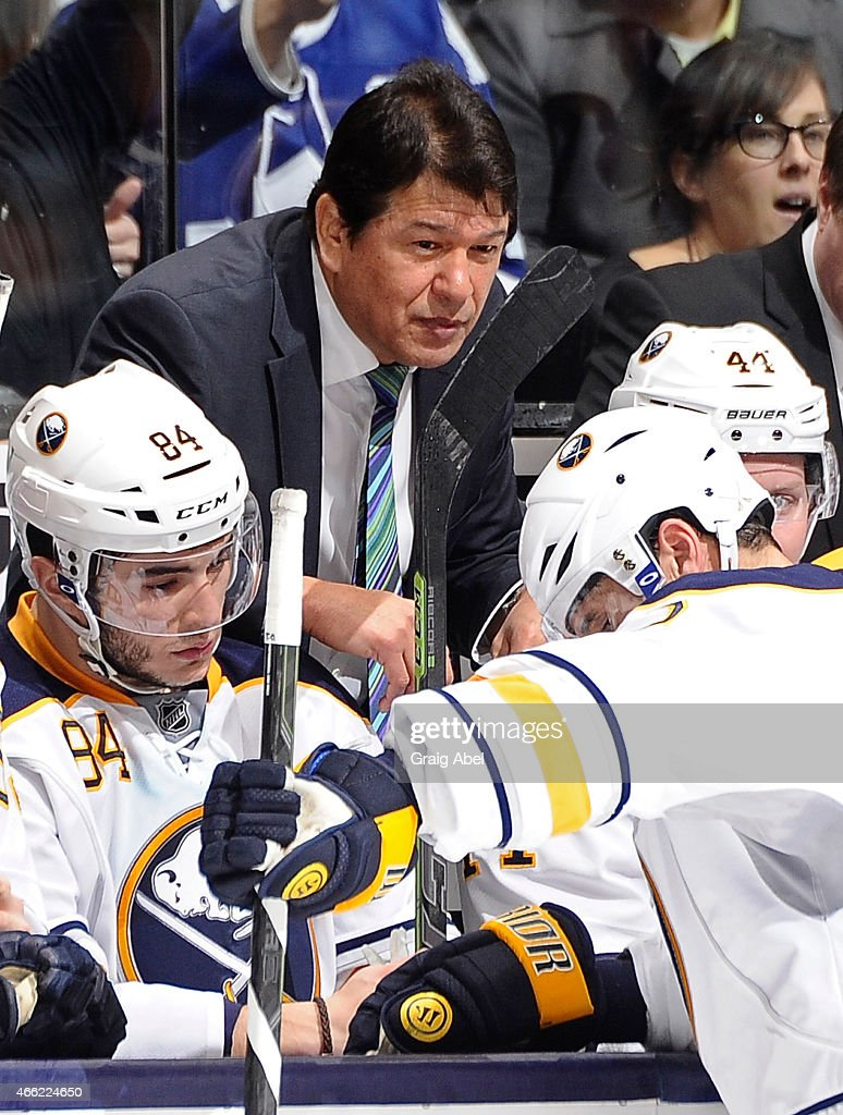Head Coach Ted Nolan of the Buffalo Sabres talks to his palyers during NHL game action against the Toronto Maple Leafs March 11 2015 at the Air...
