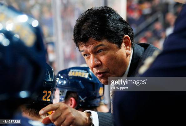 Head coach Ted Nolan of the Buffalo Sabres talks to his players in a game against the Detroit Red Wings on April 8 2014 at the First Niagara Center...