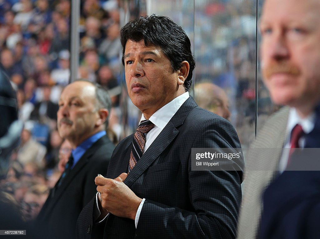 Head coach Ted Nolan of the Buffalo Sabres watches the action against the Anaheim Ducks on October 13 2014 at the First Niagara Center in Buffalo New...
