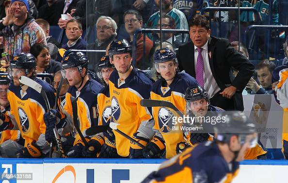Head coach Ted Nolan of the Buffalo Sabres watches the action against the San Jose Sharks on November 18 2014 at the First Niagara Center in Buffalo...