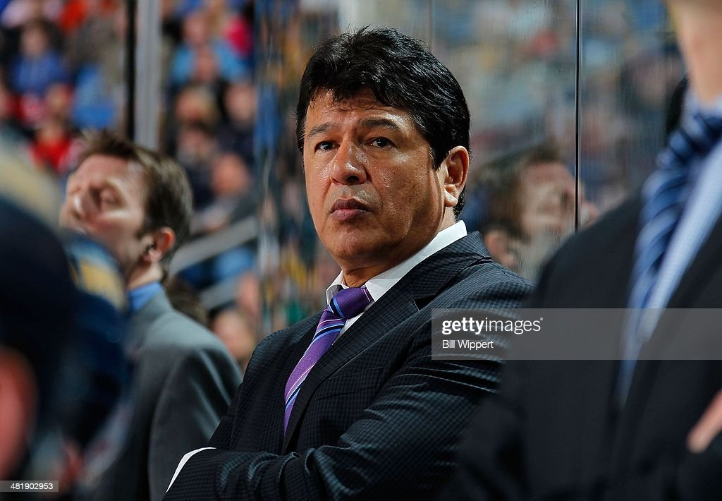 Head coach Ted Nolan of the Buffalo Sabres watches the action against the New Jersey Devils on April 1 2014 at the First Niagara Center in Buffalo...