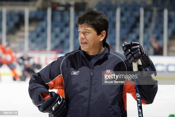 Head Coach Ted Nolan of the New York Islanders conducts practice on November 28 2007 at Nassau Coliseum in Uniondale New York